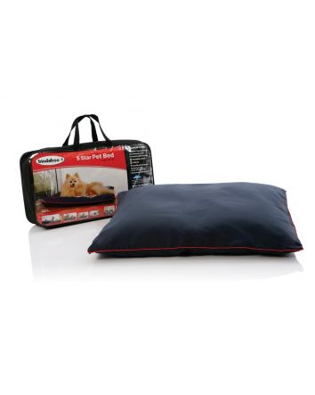5 STAR PET BED - BLUE WITH RED PIPING (SMALL)