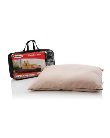 5 STAR PET BED - SANDSTONE WITH CHOCOLATE PIPING (SMALL)