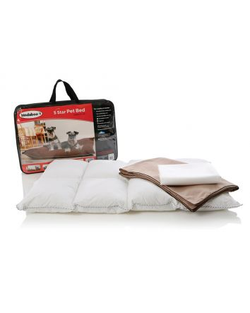 5 STAR PET BED - SANDSTONE WITH CHOCOLATE PIPING (MEDIUM)