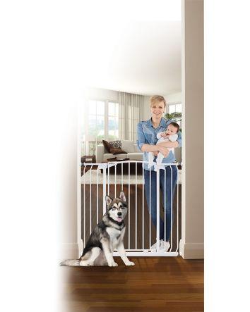ZOE EXTRA-TALL & EXTRA-WIDE HALLWAY AUTO CLOSE PET SECURITY GATE- WHITE
