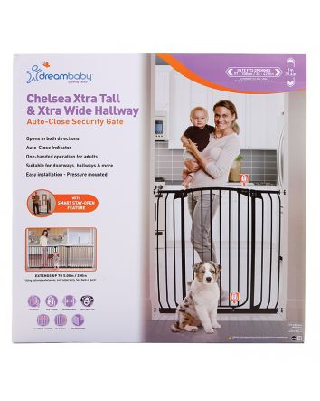 Chelsea Extra Tall and Wide 38-42.5in Auto Close Metal Baby Gate - Black