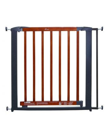 WINDSOR SECURITY GATE - CHARCOAL METAL/ CHERRY COLOR WOOD
