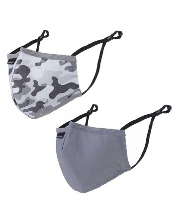 REUSABLE FACE MASKS 2PK - YOUTH - CAMOUFLAGE + GREY