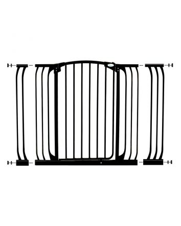 Chelsea Extra Tall and Wide 38-53in Auto Close Metal Baby Gate - Black