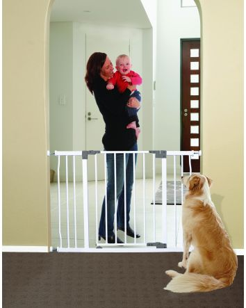 Liberty Extra Wide 39-42in Auto Close Metal Baby Safety Gate - White