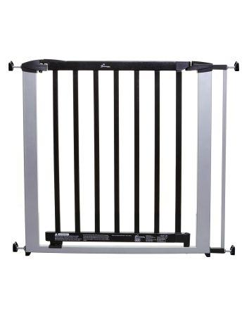 Windsor Security Gate - Silver Metal / Dark Wood